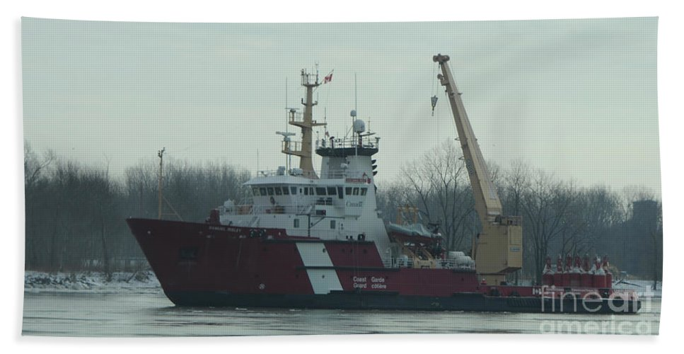 White Beach Towel featuring the photograph Ccgs Samuel Risley by Ronald Grogan