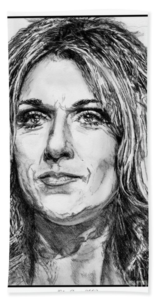 Celine Dion Beach Towel featuring the drawing Celine Dion In 2008 by J McCombie