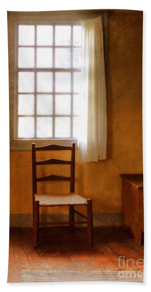 Chair Beach Towel featuring the photograph Chair Under Window by Jill Battaglia