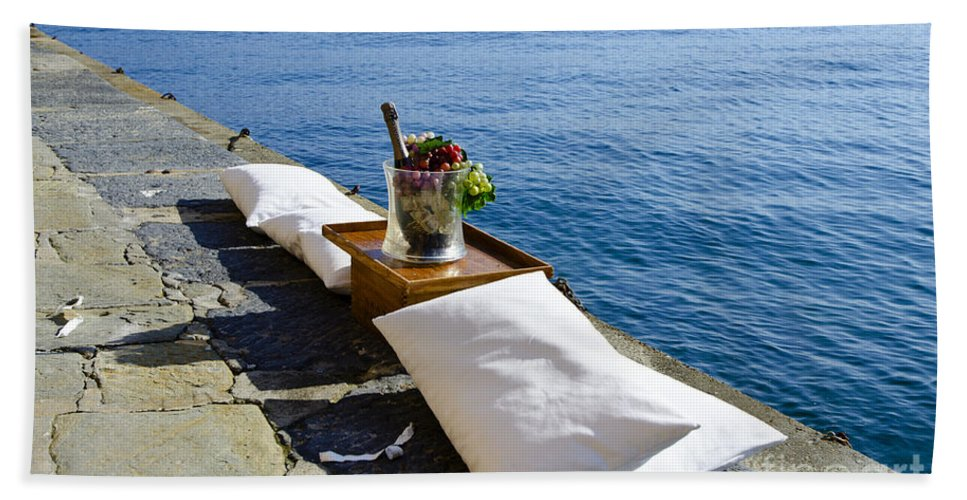Champagne Beach Towel featuring the photograph Champagne With Two Pillows by Mats Silvan