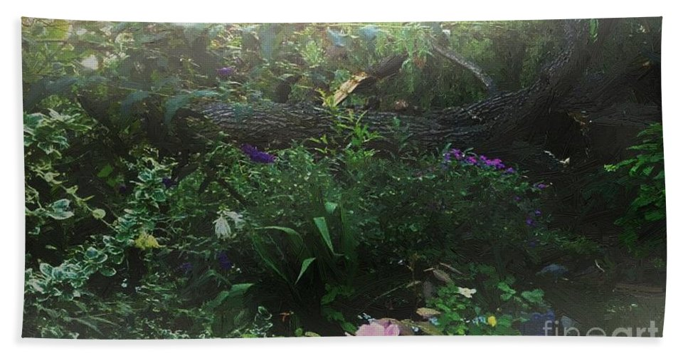 Flowers Beach Towel featuring the painting Chaos In Morning Mist by RC DeWinter