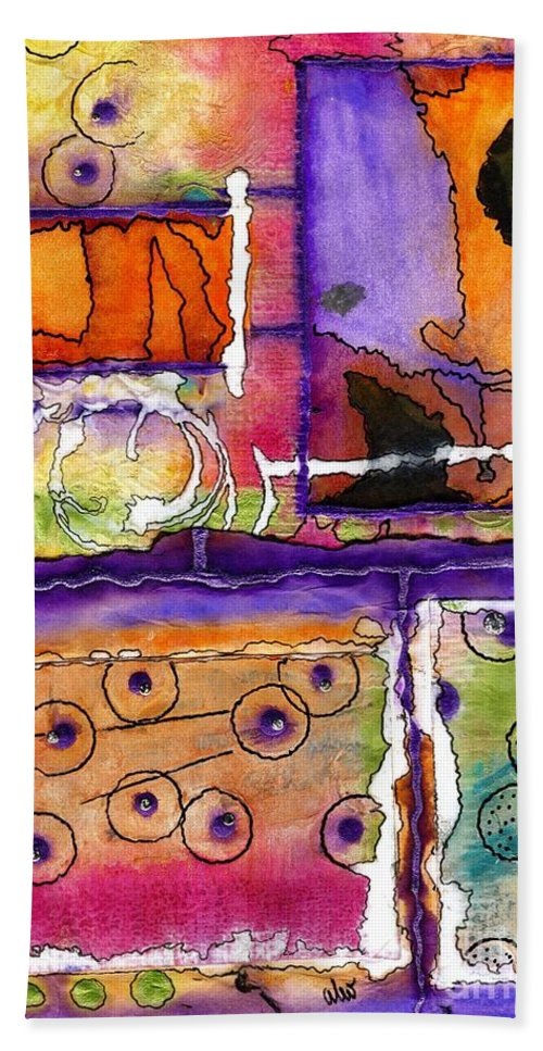 Acrylic Beach Towel featuring the mixed media Cheery Thoughts - Warm Wishes by Angela L Walker