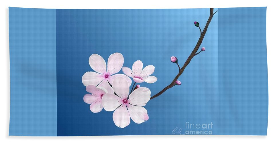 Flowers Beach Towel featuring the painting Cherry Blossoms by Rand Herron