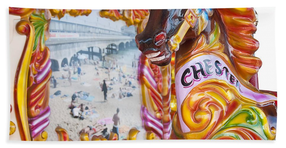 Horse Beach Towel featuring the photograph Chester The Carousel Horse by Beth Riser