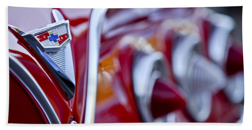 Chevrolet Impala Beach Towel featuring the photograph Chevrolet Impala Emblem by Jill Reger