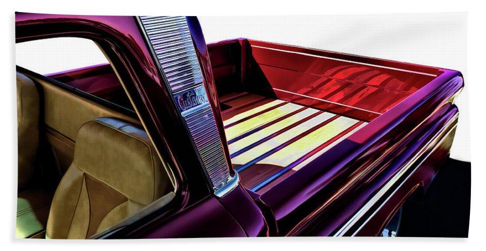Red Beach Towel featuring the digital art Chevy Custom Truckbed by Douglas Pittman