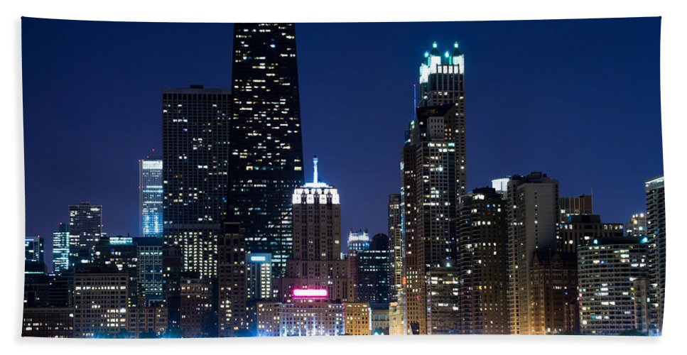 America Beach Towel featuring the photograph Chicago Skyline At Night With John Hancock Building by Paul Velgos