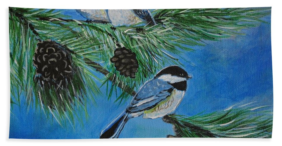 Chickadee Beach Towel featuring the painting Chickadees by Leslie Allen