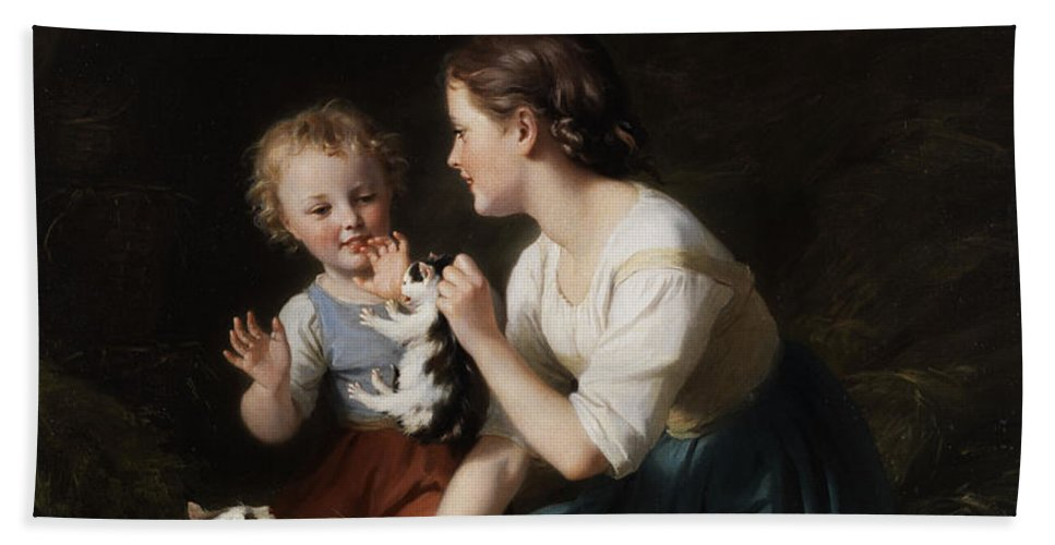 Children Beach Towel featuring the painting Children With Kitten by Fritz Zuber-Buhler
