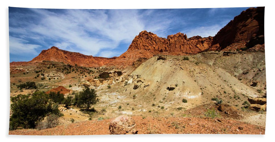 Capitol Reef National Park Beach Towel featuring the photograph Chimney Rock by Adam Jewell
