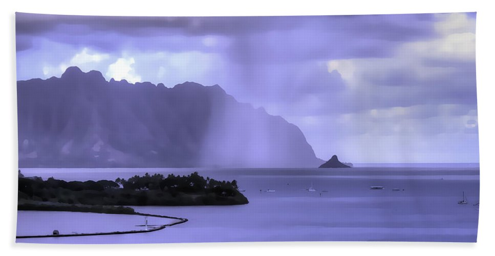 Hawaii Beach Towel featuring the photograph Chinamans Hat Gets A Shower by Dan McManus