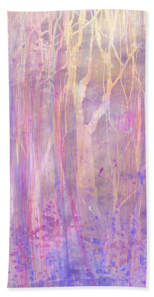 Abstract Beach Towel featuring the digital art Chitchat by William Russell Nowicki