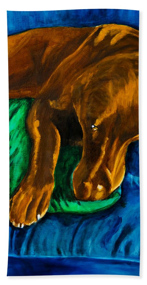 Labrador Retriever Beach Towel featuring the painting Chocolate Lab On Couch by Roger Wedegis