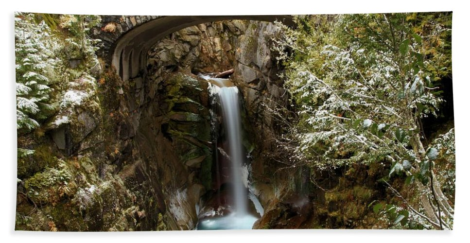 Christine Falls Beach Towel featuring the photograph Christine Under The Bridge by Adam Jewell