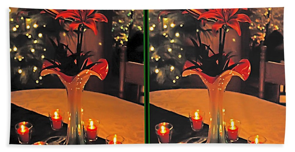 3d Beach Towel featuring the photograph Christmas Arrangement - Gently Cross Your Eyes And Focus On The Middle Image by Brian Wallace