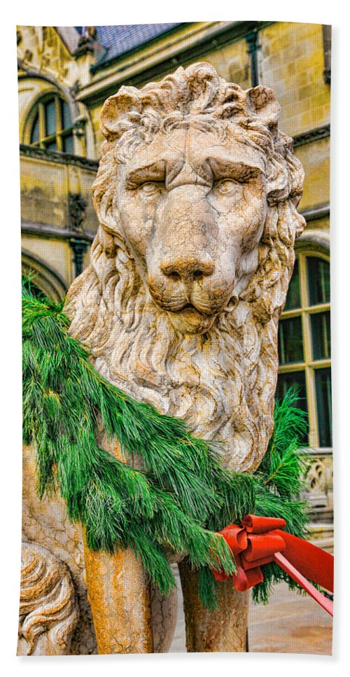 Lion Beach Towel featuring the photograph Christmas Lion At Biltmore by William Jobes