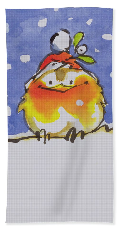 Christmas Robin (w/c And Ink On Paper) By Diane Matthes (contemporary Artist) Beach Towel featuring the painting Christmas Robin by Diane Matthes