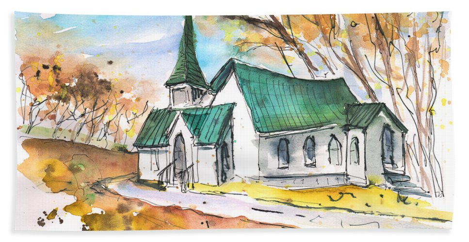 Travel Sketch Beach Towel featuring the painting Church In Friars Point Mississippi by Miki De Goodaboom