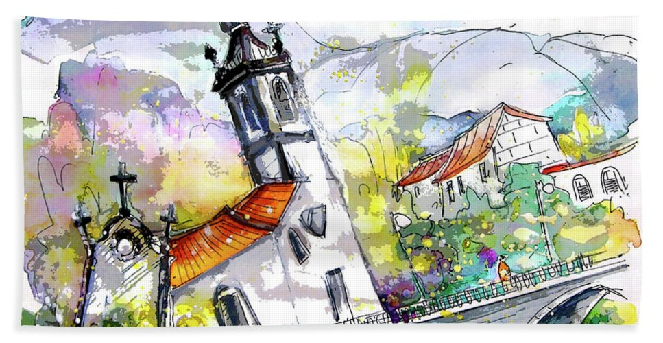 Portugal Beach Towel featuring the painting Church in Ponte de Lima in Portugal by Miki De Goodaboom