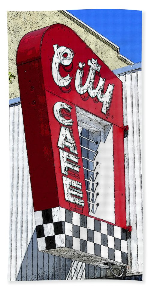 Art Beach Towel featuring the painting City Cafe by David Lee Thompson
