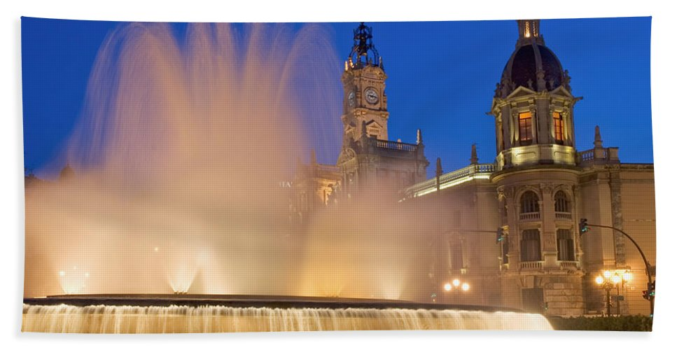 Water Beach Towel featuring the photograph City Hall And Fountain At Dusk by Axiom Photographic