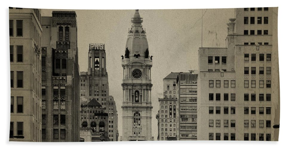 City Hall From North Broad Street Philadelphia Beach Towel featuring the photograph City Hall From North Broad Street Philadelphia by Bill Cannon