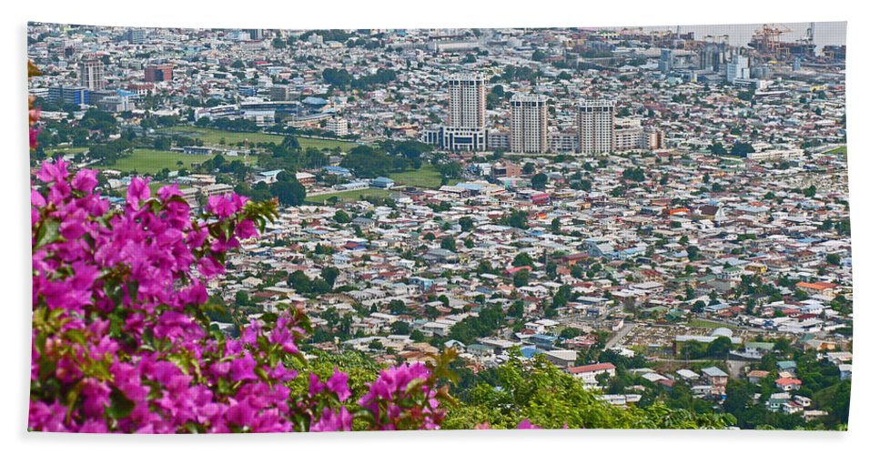 Picture Of Port Of Spain From Fort George Beach Towel featuring the photograph City of Port of Spain Trinidad by Karin Dawn Kelshall- Best