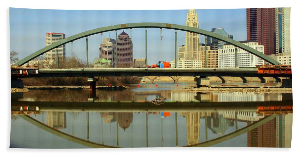 Columbus Beach Towel featuring the photograph City Reflections Through A Bridge by Laurel Talabere