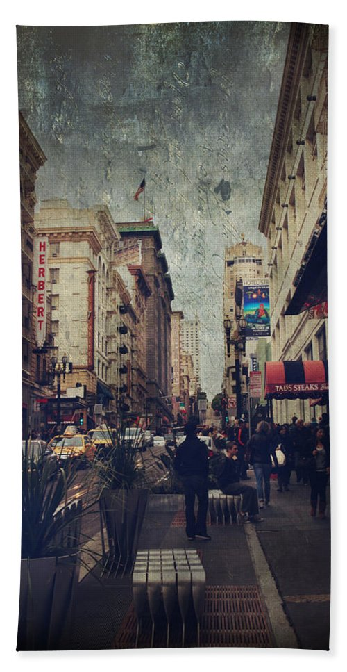 San Francisco Beach Towel featuring the photograph City Sidewalks by Laurie Search