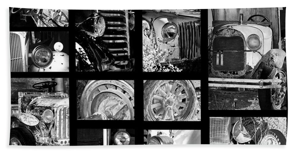Collage Beach Towel featuring the photograph Classic Car Collage In Black And White by Phyllis Denton