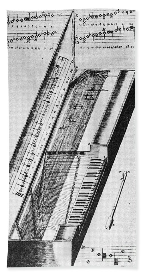 1636 Beach Towel featuring the photograph Clavichord, 1636 by Granger