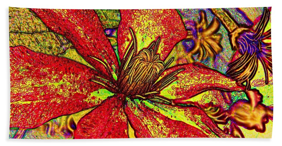 Earthy Beach Towel featuring the photograph Clematis In Colored Pencil by Chris Berry