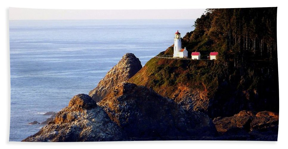 Lighthouses Beach Towel featuring the photograph Cliff Dwellers by Karen Wiles