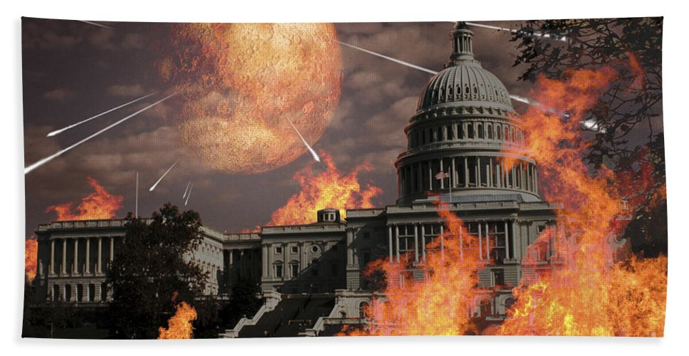 Architecture Beach Towel featuring the digital art Close Approach Of Nibiru, Planet X by Ron Miller
