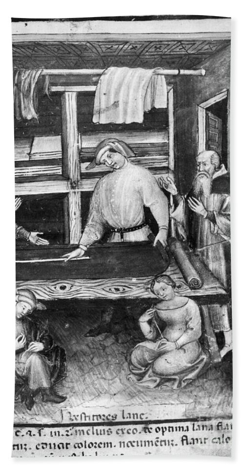 14th Century Beach Towel featuring the painting Cloth Merchant by Granger