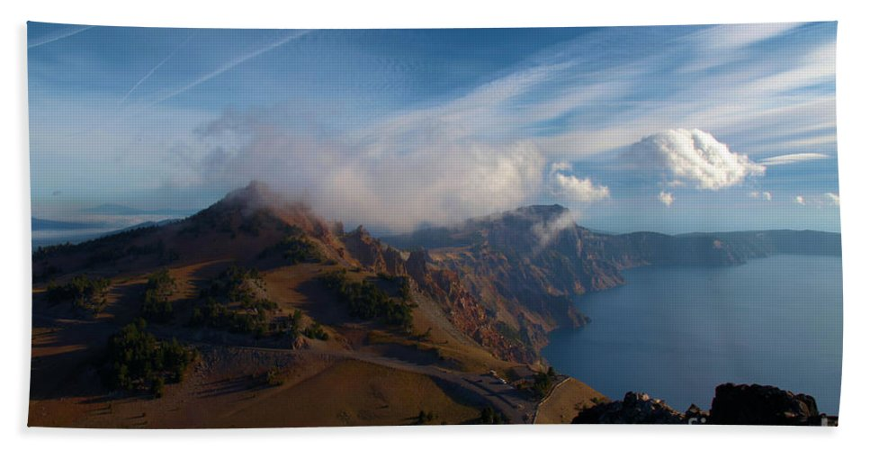 Crater Lake National Park Beach Towel featuring the photograph Clouds On The Horizon by Adam Jewell