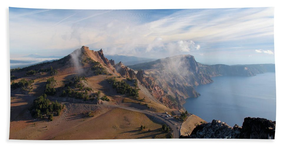 Crater Lake National Park Beach Towel featuring the photograph Clouds On The Ridge by Adam Jewell