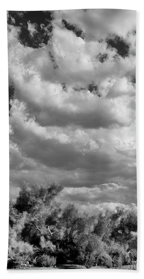 Desert Beach Towel featuring the photograph Clouds Rising Bw Palm Springs by William Dey