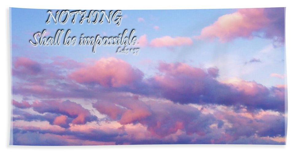 Nature Beach Towel featuring the photograph Clouds With Verse I by Debbie Portwood