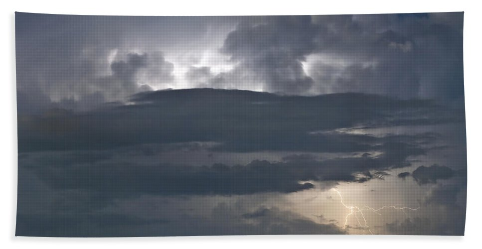 Lightning Beach Towel featuring the photograph Cloudy Horizon by Stephen Whalen