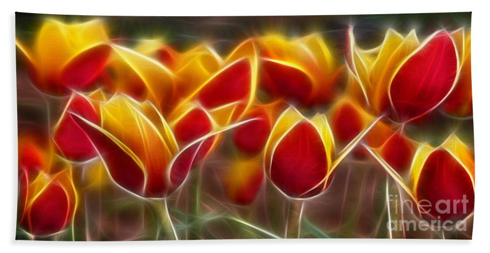 Cluisiana Tulips Beach Towel featuring the digital art Cluisiana Tulips Fractal by Peter Piatt