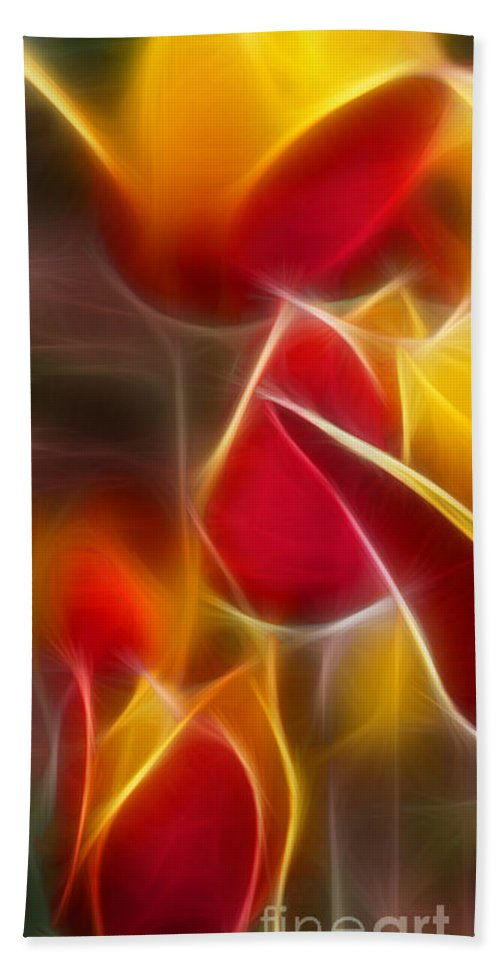 Cluisiana Beach Towel featuring the digital art Cluisiana Tulips Triptych Panel 1 by Peter Piatt