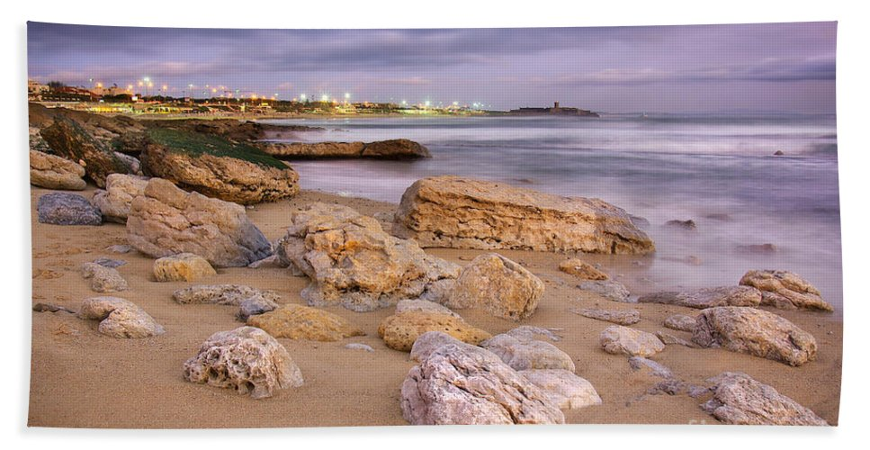 Background Beach Towel featuring the photograph Coastline At Twilight by Carlos Caetano