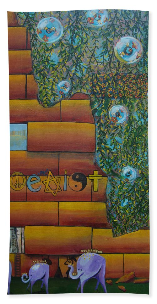 Coexist Beach Towel featuring the painting Coexist by Mindy Huntress