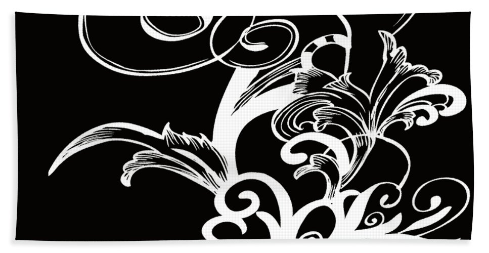 Flowers Beach Towel featuring the digital art Coffee Flowers 1 Bw by Angelina Vick
