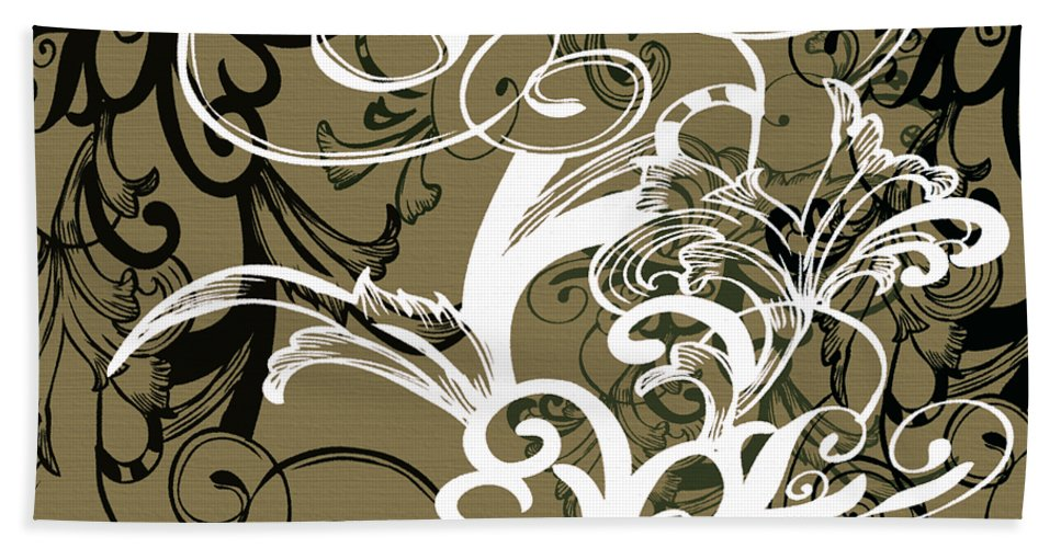 Flowers Beach Towel featuring the digital art Coffee Flowers 1 Olive by Angelina Vick