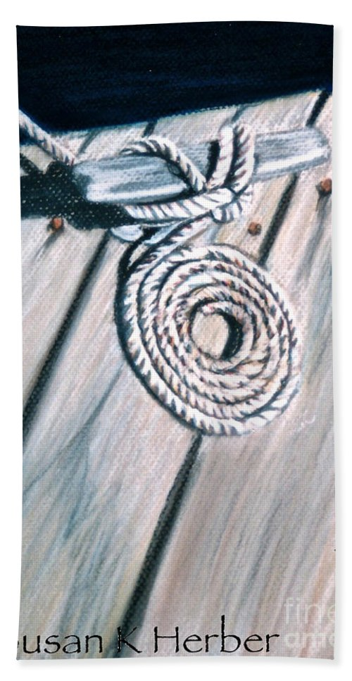 Coiled Rope Beach Towel featuring the pastel Coiled by Susan Herber