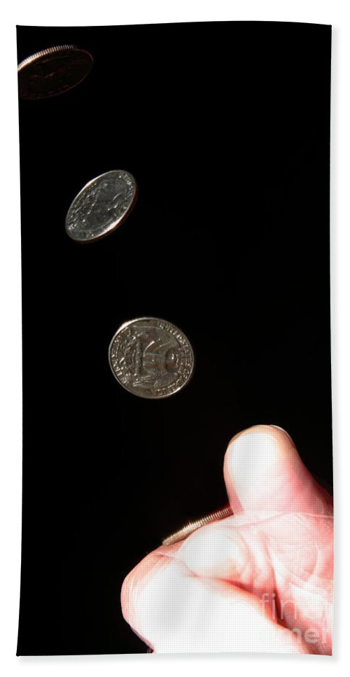 Coin Beach Towel featuring the photograph Coin Flipping by Ted Kinsman