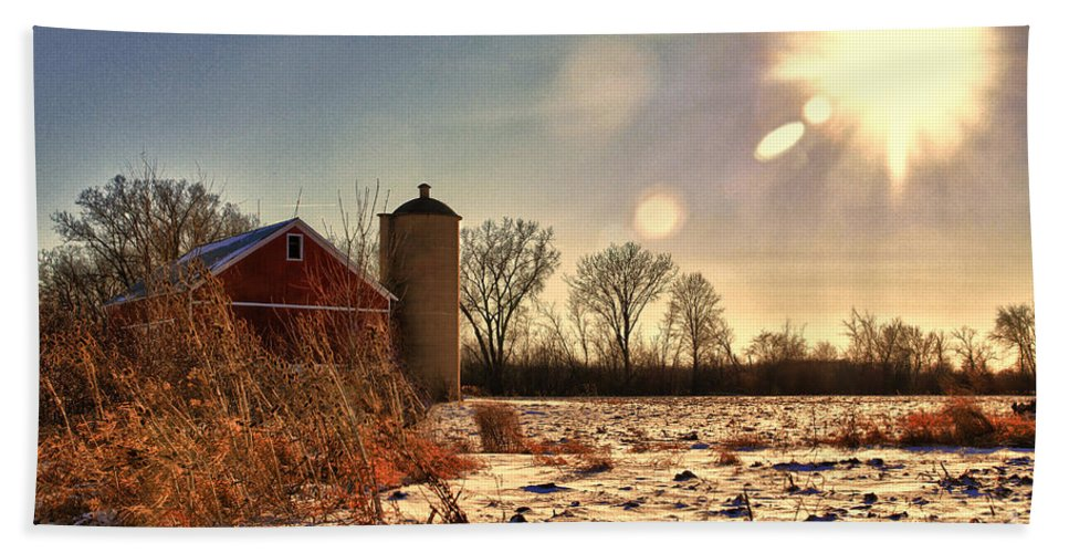 Barn Beach Towel featuring the photograph Cold Winter Barn by Joel Witmeyer