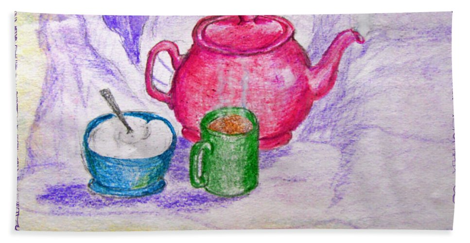 Still Life Beach Towel featuring the drawing Colorful Coffee by Debbie Portwood